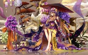 yukata, cat, long hair, parasol, Yakumo Yukari, katana