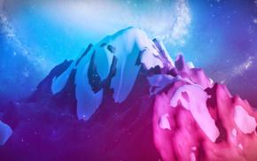 Milky Way, artwork, digital art, galaxy, snow, landscape