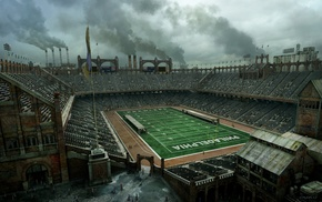 Philadelphia, smoke, sports, stadium, industrial, concept art