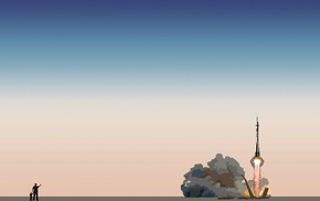 Soyuz, lift off, minimalism, Rocket, rockets