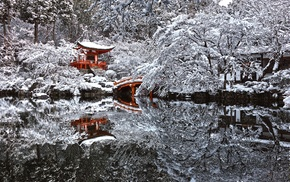 winter, landscape, reflection, trees, water, snow