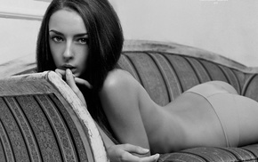 arched back, monochrome, topless, girl, brunette, couch