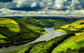 UK, river, forest, clouds, trees, water