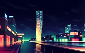 cityscape, reflection, artwork, city, building, night