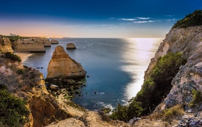 nature, cliff, rock formation, sea, landscape, coast