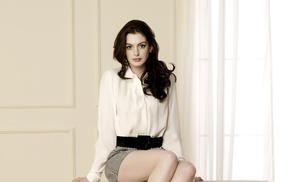 girl, brunette, long hair, actress, white tops, Anne Hathaway