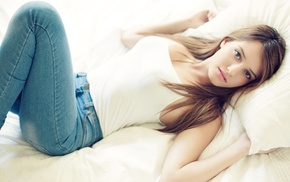 brunette, tank top, lying down, jeans, girl, Linoy Sror