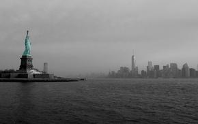 architecture, island, Statue of Liberty, cityscape, skyscraper, selective coloring
