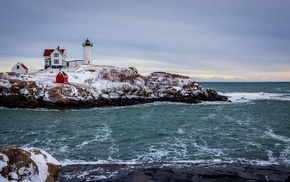 lighthouse, landscape, waves, winter, snow, rock