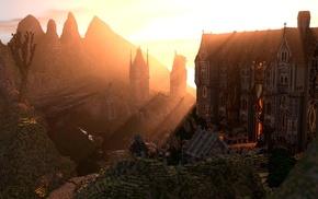screenshots, Minecraft, render, sunset, mansions