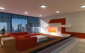 fireplace, render, apartments, window, Minecraft