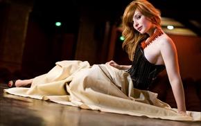 redhead, dress, freckles, long hair, brown eyes, on the floor