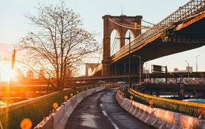 urban, architecture, trees, road, New York City, bridge