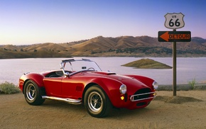 Route 66, Shelby Cobra 427, Shelby, USA, old car, road