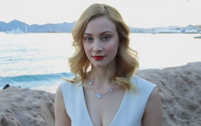 blue eyes, blonde, red lipstick, actress, girl, Sarah Gadon