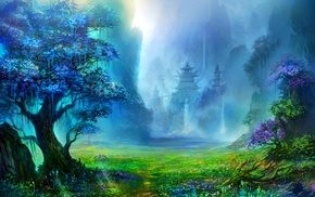 waterfall, water, landscape, nature, fantasy art, Asian architecture