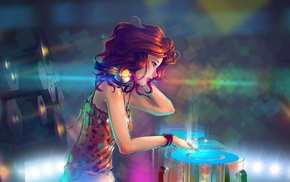 headphones, anime girls, turntables, girl, interfaces, DJ