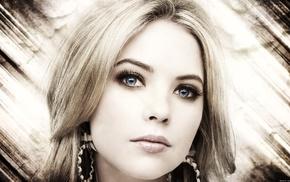 blonde, selective coloring, blue eyes, Ashley Benson, face, girl