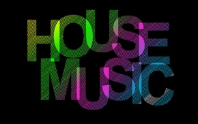 house music, black background, typography, stripes