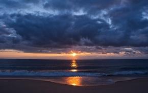 sea, beach, landscape, nature, water, clouds