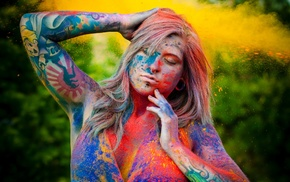 body paint, piercing, tattoo, nose rings, colorful, closed eyes