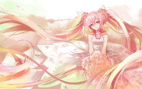 flower petals, long hair, Hatsune Miku, Sakura Miku, anime, white dress