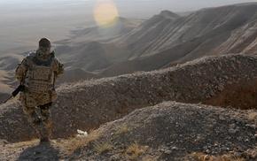 gun, landscape, military, desert, nature, ISAF