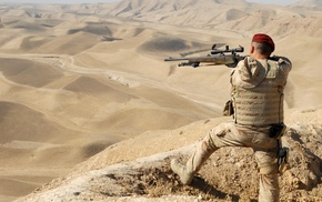 desert, landscape, nature, sniper rifle, snipers, soldier