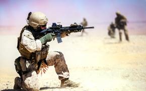 depth of field, assault rifle, gun, war, USMC, rifles
