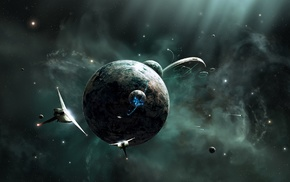 space, digital art, planet, spaceship, science fiction, universe