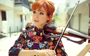 Lindsey Stirling, dress, street, open mouth, girl, musicians