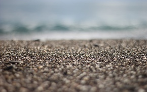 sea, sand, stones, tilt shift, macro, depth of field