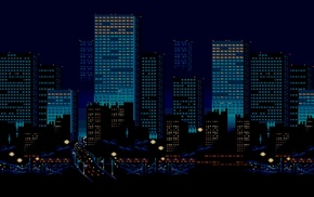 digital art, pixel art, lights, 3D, skyscraper, pixels