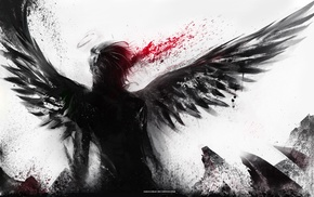 abstract, wings, blood spatter, fantasy art, angel
