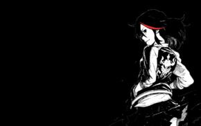 looking back, selective coloring, Matoi Ryuuko, simple background, Kill la Kill
