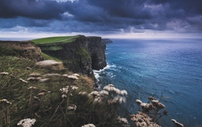 water, sea, clouds, nature, cliff, landscape