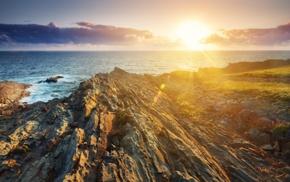 rock, lens flare, nature, water, landscape, sea
