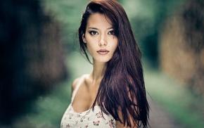 brunette, girl outdoors, girl, model, white dress, brown eyes