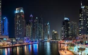 city, landscape, Dubai, night