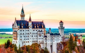 fall, landscape, colorful, architecture, Europe, Neuschwanstein Castle