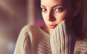 sweater, face, brown eyes, girl, model, looking at viewer