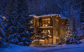 architecture, winter, snow, USA, trees, luxury