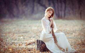 white dress, long hair, dress, girl, braids, redhead