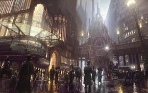 city, fantasy art, artwork, concept art, steampunk