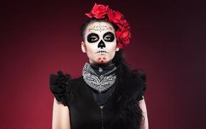 model, girl, makeup, Sugar Skull