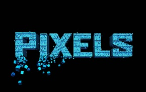 pixels, movies, pixel art, typography, cube, digital art