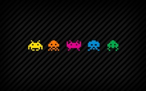 lines, digital art, pixel art, Space Invaders, vintage, colorful