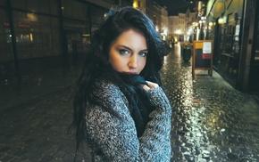 Aurela Skandaj, anime, sweater, looking at viewer, black hair, David Olkarny