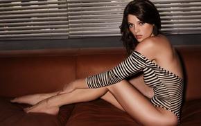 barefoot, couch, brunette, Ashley Greene, leotard