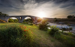 river, rock, sunlight, landscape, poppies, bridge
